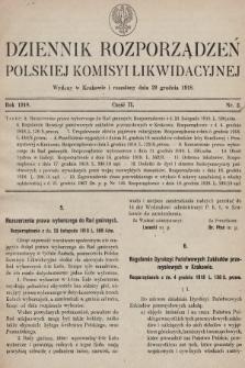 Dziennik Rozporządzeń Polskiej Komisyi Likwidacyjnej. 1918, część II, nr 2