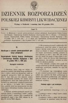 Dziennik Rozporządzeń Polskiej Komisyi Likwidacyjnej. 1918, część II, nr 3