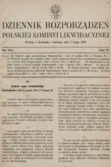 Dziennik Rozporządzeń Polskiej Komisyi Likwidacyjnej. 1919, część IV