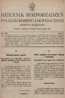 Dziennik Rozporządzeń Polskiej Komisyi Likwidacyjnej. 1919, część V
