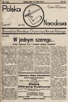 Polska Narodowa : tygodnik polityczny. 1938, nr7