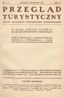 Przegląd Turystyczny : organ Polskiego Towarzystwa Tatrzańskiego. 1927, nr 7-8