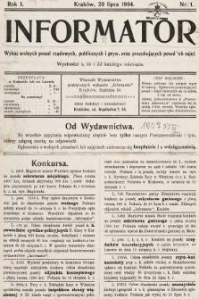 Informator : wykaz wolnych posad rządowych, publicznych i pryw. oraz poszukujących posad lub zajęć. 1904, nr1