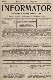 Informator : uniwersalny organ informacyjny. 1905, nr4