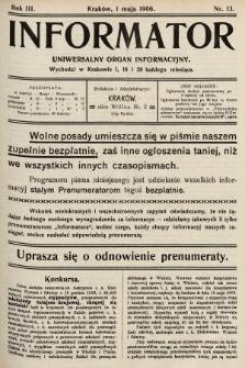Informator : uniwersalny organ informacyjny. 1906, nr13