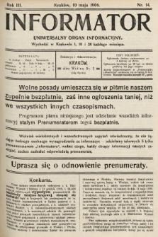 Informator : uniwersalny organ informacyjny. 1906, nr14