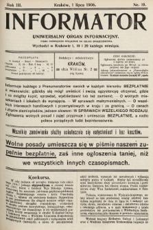 Informator : uniwersalny organ informacyjny : pismo poświęcone wyłącznie na usługi społeczeństwa. 1906, nr19