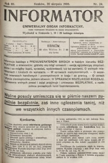Informator : uniwersalny organ informacyjny : pismo poświęcone wyłącznie na usługi społeczeństwa. 1906, nr24