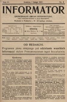 Informator : uniwersalny organ informacyjny. 1907, nr4
