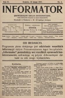 Informator : uniwersalny organ informacyjny. 1907, nr5