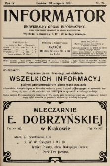 Informator : uniwersalny organ informacyjny. 1907, nr24