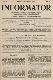 Informator : uniwersalny organ informacyjny. 1907, nr27