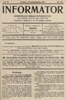 Informator : uniwersalny organ informacyjny. 1907, nr29
