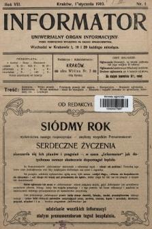 Informator : uniwersalny organ informacyjny. 1910, nr1