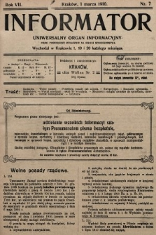 Informator : uniwersalny organ informacyjny. 1910, nr7