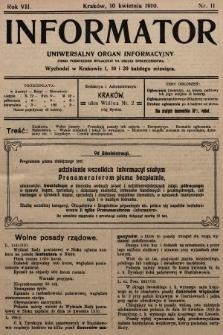 Informator : uniwersalny organ informacyjny. 1910, nr11