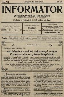 Informator : uniwersalny organ informacyjny. 1910, nr20
