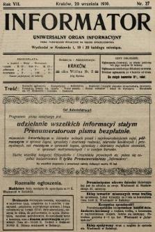 Informator : uniwersalny organ informacyjny. 1910, nr27