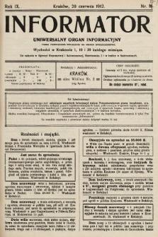 Informator : uniwersalny organ informacyjny. 1912, nr18