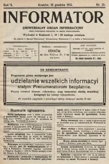 Informator : uniwersalny organ informacyjny. 1912, nr35