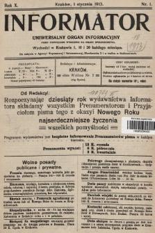 Informator : uniwersalny organ informacyjny. 1913, nr1