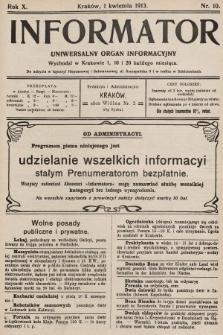 Informator : uniwersalny organ informacyjny. 1913, nr10