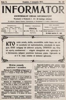 Informator : uniwersalny organ informacyjny. 1913, nr22
