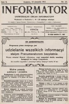 Informator : uniwersalny organ informacyjny. 1913, nr23