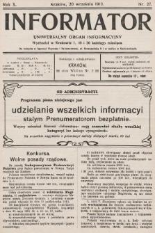 Informator : uniwersalny organ informacyjny. 1913, nr27