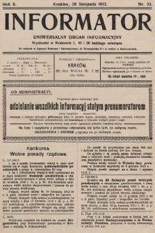 Informator : uniwersalny organ informacyjny. 1913, nr33