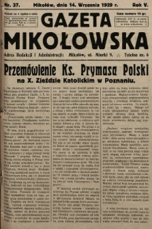 Gazeta Mikołowska. 1929, nr37