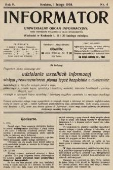 Informator : uniwersalny organ informacyjny. 1908, nr4