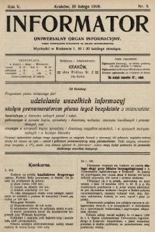 Informator : uniwersalny organ informacyjny. 1908, nr5