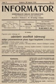 Informator : uniwersalny organ informacyjny. 1908, nr9