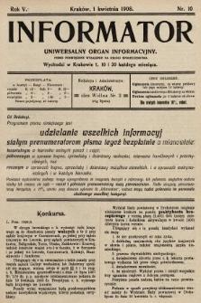 Informator : uniwersalny organ informacyjny. 1908, nr10