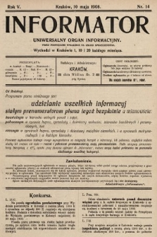Informator : uniwersalny organ informacyjny. 1908, nr14