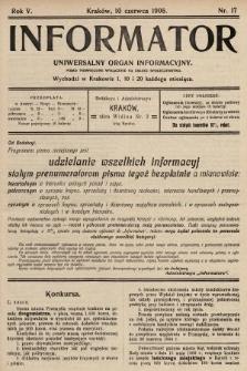 Informator : uniwersalny organ informacyjny. 1908, nr17