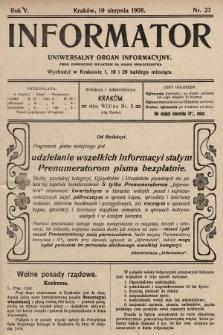 Informator : uniwersalny organ informacyjny. 1908, nr23