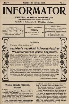 Informator : uniwersalny organ informacyjny. 1908, nr24