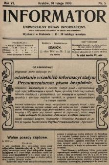 Informator : uniwersalny organ informacyjny. 1909, nr5