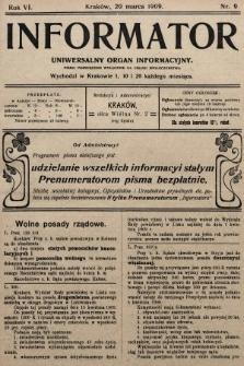 Informator : uniwersalny organ informacyjny. 1909, nr9