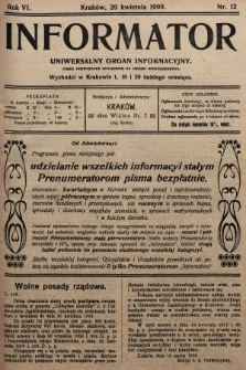 Informator : uniwersalny organ informacyjny. 1909, nr12
