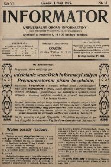 Informator : uniwersalny organ informacyjny. 1909, nr13