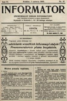 Informator : uniwersalny organ informacyjny. 1909, nr16