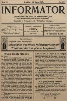 Informator : uniwersalny organ informacyjny. 1909, nr20