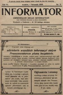 Informator : uniwersalny organ informacyjny. 1909, nr31