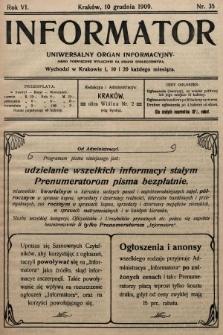 Informator : uniwersalny organ informacyjny. 1909, nr35