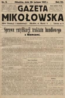 Gazeta Mikołowska. 1931, nr9