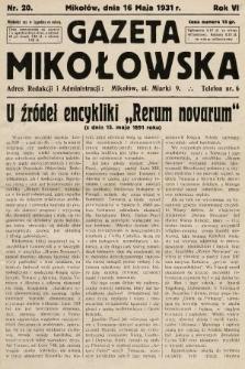 Gazeta Mikołowska. 1931, nr20