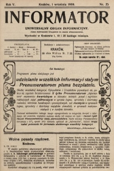 Informator : uniwersalny organ informacyjny. 1908, nr25